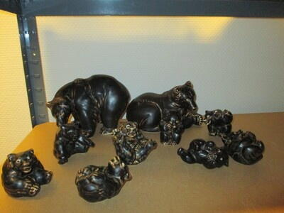 Bear family of 10 Figurines from Royal Copenhagen